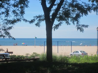 Photo for Your View of North Beach from Cheer Up Cottage. That's Lake Michigan Out There!