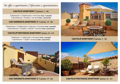 Description of the 3 apartments we list. / Descripción 3 apartamentos.