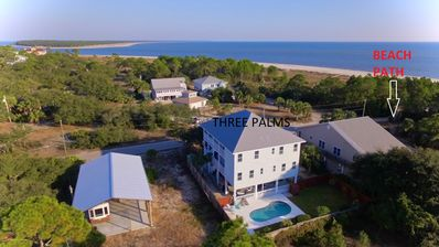 Three Palms Compound-Drone Shot of House,Beach Path+ Gulf of Mexico