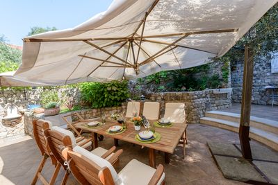 Large patio suitable for outdoor dining