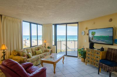 Surfside Sandcastle, Sunbird 208W Panama City Beach, FL.  Make this your Perfect Place in Paradise!  The great room has a man-sized flat-screen TV, a luxurious queen-sized sleeper sofa and a comfy leather swivel rocker recliner.