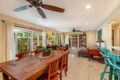 Spacious great room, leads to the private lanai and fenced yard, pet friendly~