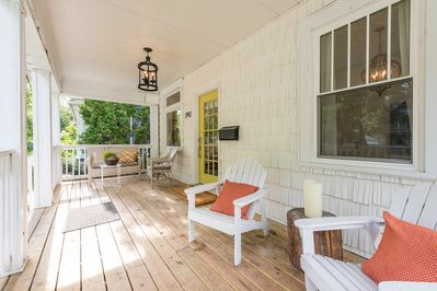 Our front porch is perfect for enjoying a morning cup of coffee.