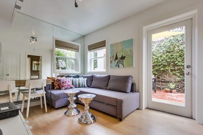 Newly remodeled, designer living room is perfect for Beach living!