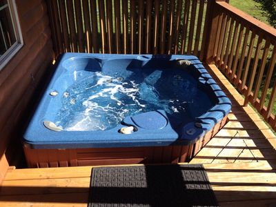 Photo for New Listing! Mountain & River Cabin, Hot Tub, Pool, Tube, Fish, Swim,