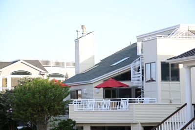 Front of House with Multiple Decks, Ocean, Sunrise & Sunset Views, Private St.