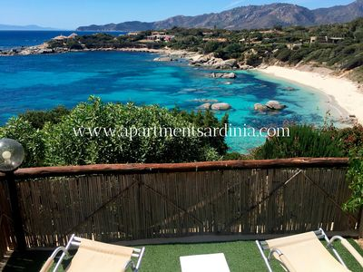 Photo for Sardinia Villasimius: water front FLAT , at only 25 mt from the sea, with an amazing view over: the bay, the Cala Caterina beach and sunset