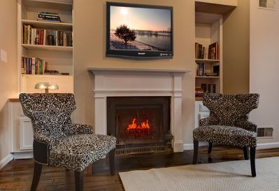 Fireplace in living area.