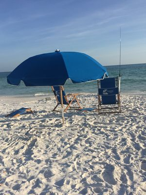 Typical beach setup. Notice the fishing pole