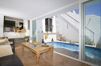 Living Room and Private Solar Heated Pool