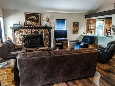 Spacious Living Room with plenty of seating. Pull out Couches for extra beds.