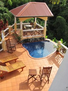Upper deck, gas grill, and plunge pool