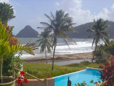 Photo for Vue Roche Pain Sucre single condo with pool beside the sea Northern Martinique