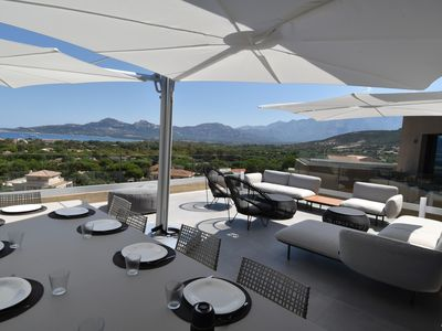 Photo for Luxurious contemporary villa with exceptional view over the bay of Calvi!