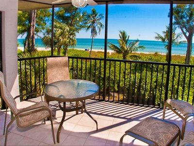 Lanai Overlooking Beach and Gulf.  Access from Living Room and Master bedroom.