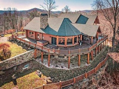 Photo for Poplar Gap Lodge; Luxurious log Lodge & Guest House w/ Hot Tubs!  Marshall, Hot Springs, more.