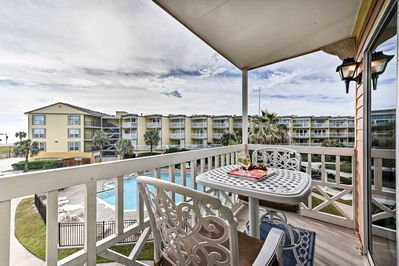 Kick off your Galveston vacation from this condo's private balcony!