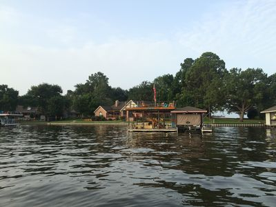 View of the property from the water shows huge water frontage