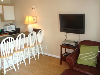 Flat Screen TV with DVR and Loads of Cable Channels. Private Internet Service.