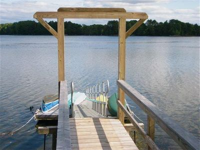 Dock, ramp and float with boats