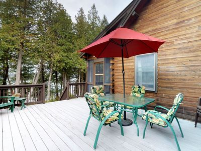 Photo for NEW LISTING! Lakefront cabin w/ amazing views, outdoor firepit, and big deck