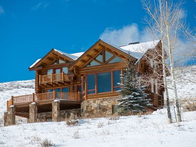 Photo for Stunning views from cozy 3 bedroom log home in Telluride.