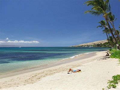 A three minute walk from our lanai to this incredible white sandy beach