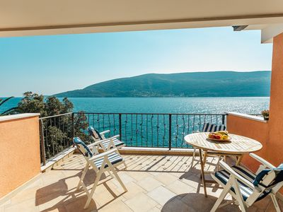 Photo for Boka Apartment 1, large apartment with sea view close to Skver in Herceg Novi