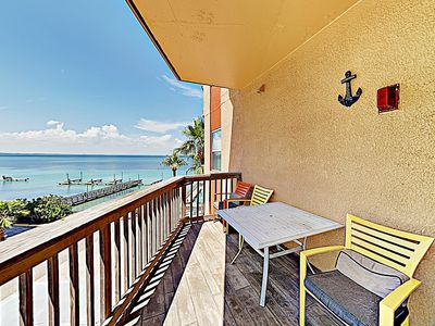 Photo for Stunning Bayfront Views! Updated 2BR Condo w/ Balcony, Pool & Hot Tub