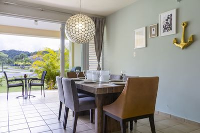 Thee is plenty of light in the dining room