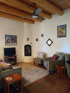 Enjoy the lovely Kiva gas-log fireplace - cozy and romantic without the mess!
