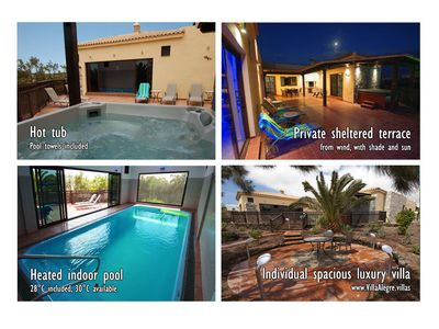 Photo for 5* spacious luxury villa, 'jacuzzi', indoor heated pool, private sheltered patio