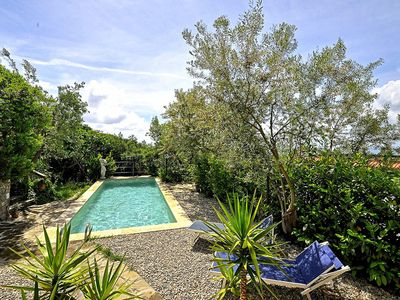 Photo for Nice rustic villa in quiet area near Massalubrense, with pool and sea view.
