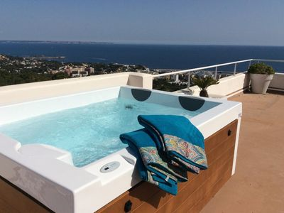 Photo for quiet luxury villa with wonderful unrestricted 180 degree sea views
