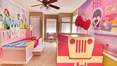 Minnie jeep and Princess Castle custom built twin beds