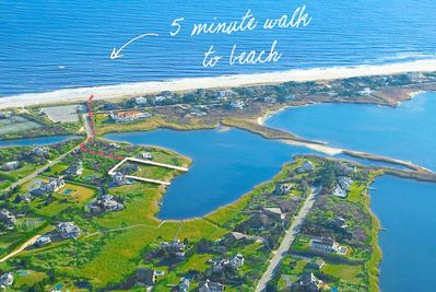 Aerial overview. Dotted line is your walk from property to beach.