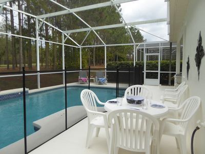 Pool area with child safety fence.