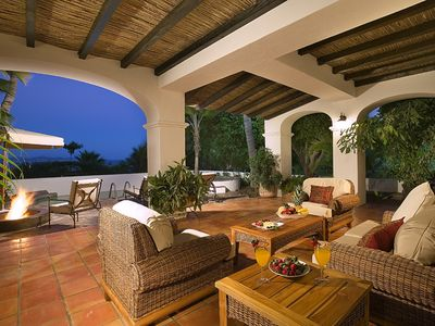 Expansive balcony with private pool, fire pit, lounge and ocean views
