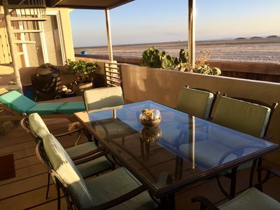Relax on the spacious covered patio. Dine  al fresco , seating for 6 , char BBQ