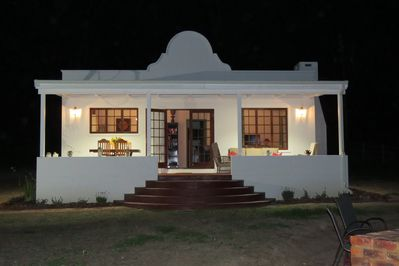 Cottage entrance at night