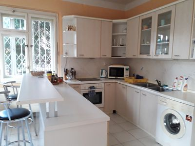 Fully equipped kitchen-oven,microwave, kettle,coffee marker,dinning set,dishes