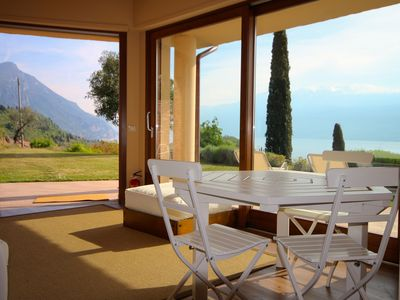 Photo for Breathtaking view of Lake Garda: apartment with garden and terrace