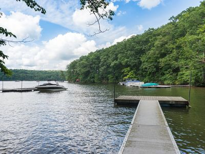 Photo for Lakefront cabin w/ private dock and great views - close to skiing!