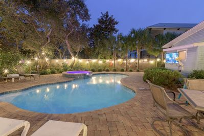 LARGE private pool with a spa. Can be heated upon request with a fee.