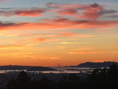 Amazing sunsets! View of Bay Bridge w/Golden Gate behind.