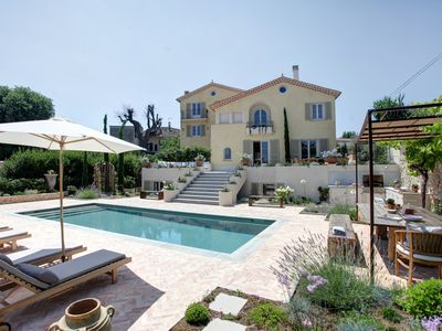 Photo for Luxury Villa with heated pool steps from beaches and old town by Antibes-Rental