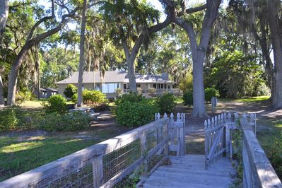Large lot on the bluff with lovely live oak canopy and deepwater dock steps away