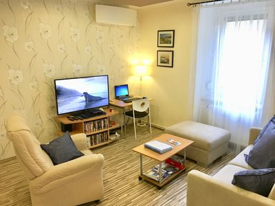 Living room with a laptop, a big 46inch smart TV +DVD player and movie library