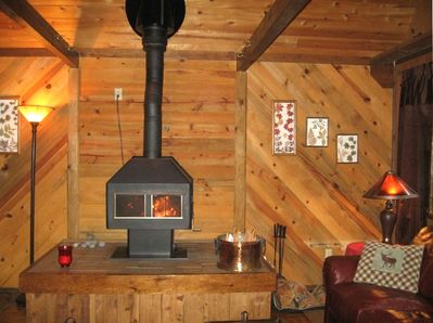 Enjoy the warmth of the woodstove while reading your favorite book or napping