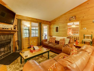 Photo for Quaint, dog-friendly cabin w/ screened-in deck, private hot tub, & firepit